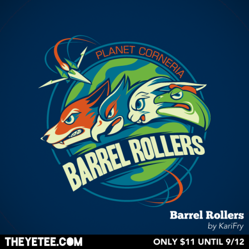 "svalts:  You can't lost when rooting  for the Star Fox ""Barrel Rollers""! This sports team / video game shirt  by Kari Fry is on sale until Sept 12th at The Yetee. Contest Time: Get a chance at winning the shirt for free by reblogging this post or go to TheYetee's Facebook page to enter! Winners announced on Sept 12th. Wait, There's More!: Buying this shirt, automatically enters you in a draw to win a free copy of Star Fox64 3D for the Nintendo 3DS! The winner will be contacted at the end of the sale! Barrel Rollers - by Kari Fry Website 