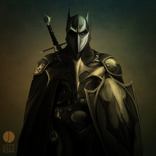 justintr:  The Dark Knight - by John Aslarona Twitter | Facebook | Tumblr Gotham's Dark Knight is given a killer Medieval look from artist John Aslarona. Check out more of his awesome works on his Tumblr. (via: johnaslarona)