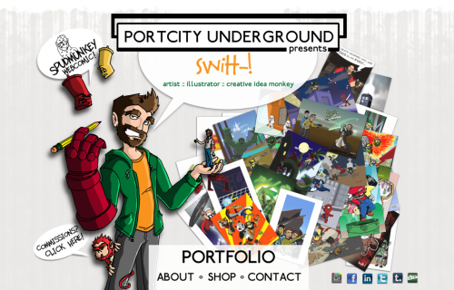 Finally Finished my PortCity Underground revision for class. Right now the main page and all the external links are working(social networking/webcomic). I also threw up the Commissions page as well. Template pages for the other 4 are already inserted, I just need to fill them up. For Portfolio Gallery, i'll be using Shinetime. Im have my  RedBubble and Cafepress shop already setup, and im sitting on a BigCartel and Store Envy I haven't cracked open yet. Hmmmmmmm decisions decisions… Anyways, browse around, if anything looks wonky, or broken, please let me know what broswer you're using so I can match up compatibility!  Oh and let me know what you think!  Cheers!  -Steve