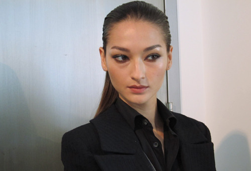 Bruna Tenorio backstage at Cushnie et Ochs Spring 2012