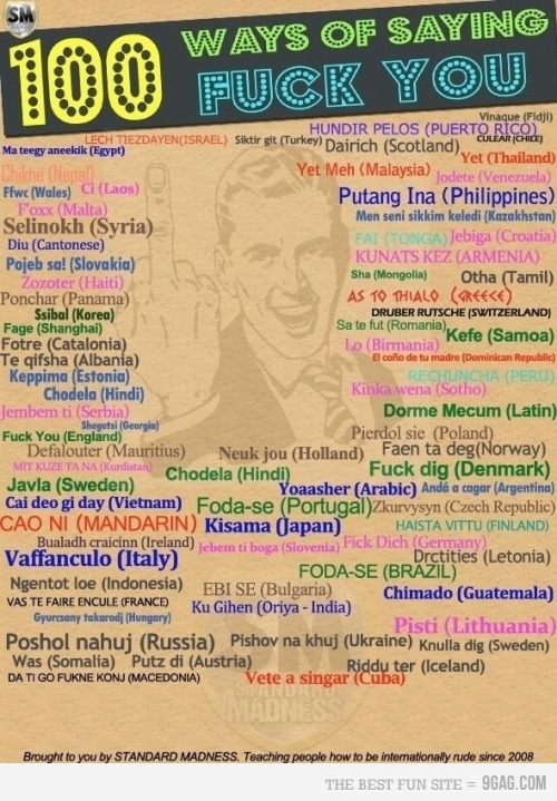 "SAYING ""FUkK YOU"" IN 100 LANGUAGES…sweet!"