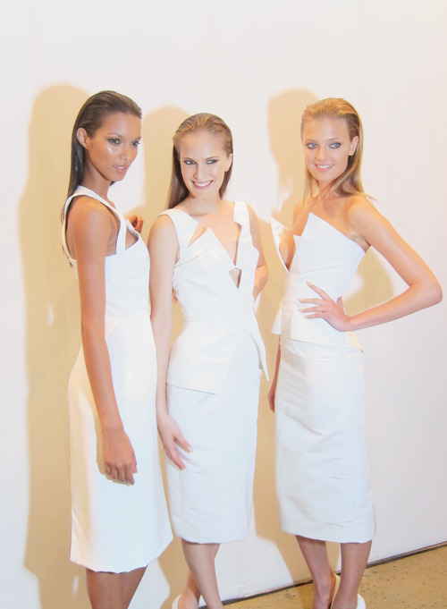 wlyk:  WLYK was backstage at the Cushnie et Ochs Spring 2012 show. Casting by Julia Samersova, we had the pleasure to meet the girls. Pictured above are Lais Ribeiro, Alla Kostromichova (Women), Constance Jablonski, Josephine Skriver, Karolina Waz (Marilyn) and Bruna Tenorio (Women).