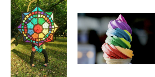 wardrobevpantry:  Crocheted parasolvRainbow soft serve Seasonal confusion…