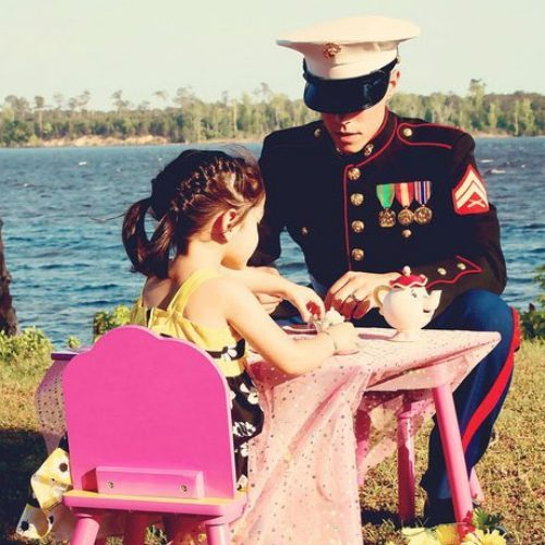 A Marine at a tea party.