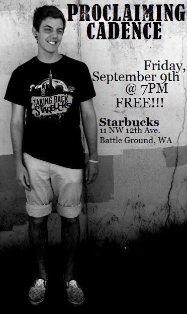 kaseykourageous:  Tonight (9/9) @ Starbucks in Battle Ground,WA!! I'm playing a FREE show!! Music starts at 7 and I play around 8ish!! I hope to see some of you guys there!!!  If you're in Battle Ground, WA tonight go see my fave play a little show at Starbucks!