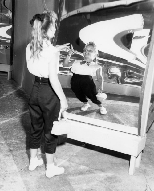 Fun house mirror at Pacific Ocean Park in Santa Monica, CA - 1958