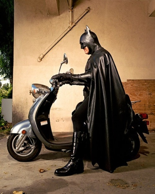derekfuego:  Due to the recession, Batman has had to downsize the Bat Bike. thegeekcritique:  I Am the Night