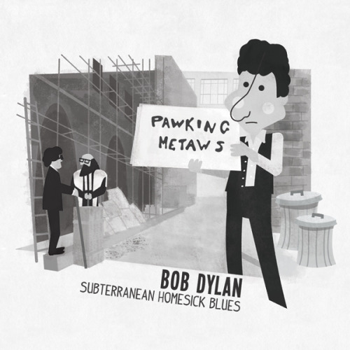 Vintage cartoons in a 1960s-style depicting various moments in Bob Dylan's life: Subterranean Homesick Blues