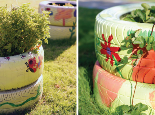 Prettiest Tire Planters - ever!  Next week I am going to help design a butterfly garden at Level Creek Elementary School - and you can bet this will be one of the projects I recommend to them. Tires are almost always free for the asking at any tire shop, so you can pick out the prettiest tires on the premises. Prime the outside surface before painting with flowers.