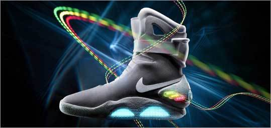 "'Back to the Future' shoe auctioned - PORTLAND, Ore. - Nike says it has created a limited-edition shoe based on a glowing pair that appeared in the popular 1989 movie ""Back to the Future II."""