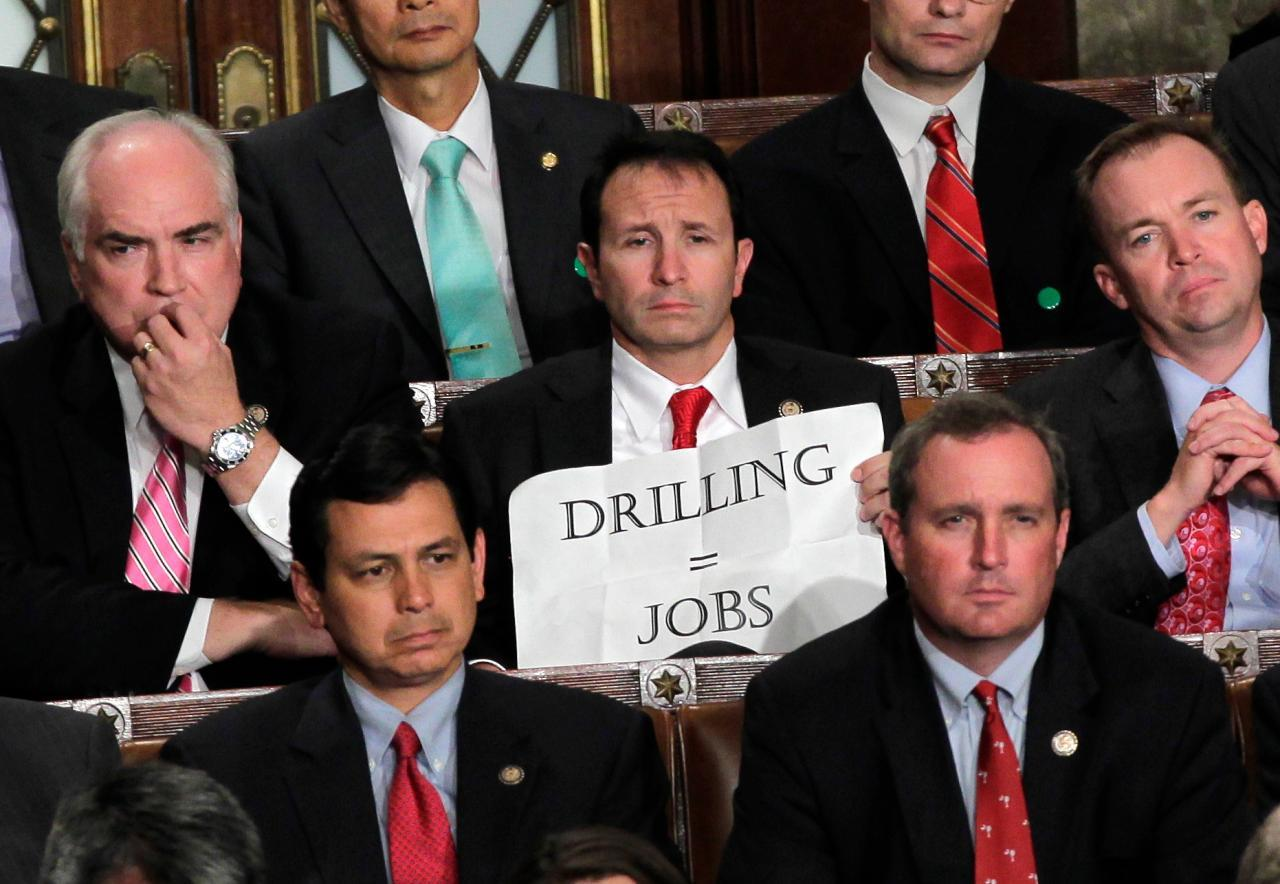 "(via The Associated Press: Lawmaker's sign cracks decorum at Obama job speech) For real? This is your big ""jobs plan"". Drilling?"