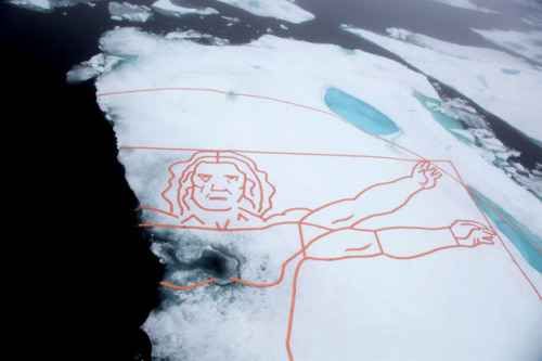 Campaigners recreate Leonardo da Vinci's famous sketch in the Arctic sea. Leonardo da Vinci's famous Vitruvian Man becomes half the man he used to be - as part of his body melts into the sea. The enormous version of the Italian painter's famous sketch was created by artist John Quigley who used copper pipes stretched out on the iceberg in the Arctic. More here