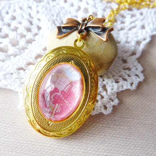 Vintage Inspired Brass Locket with Antique Copper Ribbon Necklace via Katheyl