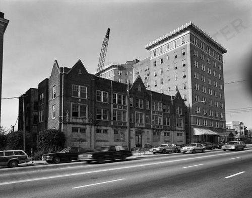 1986 photo of apartment buildings on Peachtree at Pershing Point.  Midtown Atlanta. (via Atlanta History Center Album. Midtown)