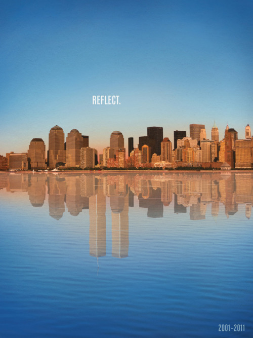 theamericancreative:  This ad was created for the 10 year anniversary of 9/11. It's a very strong image, but something that I felt was, from a advertising perspective, very appropriate & tasteful. Such a beautiful image, and on this milestone anniversary, we all should be thankful and in full remembrance.