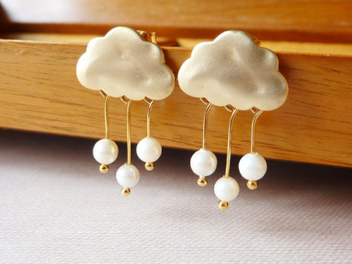 Rain Clouds Post Earrings via Katheyl