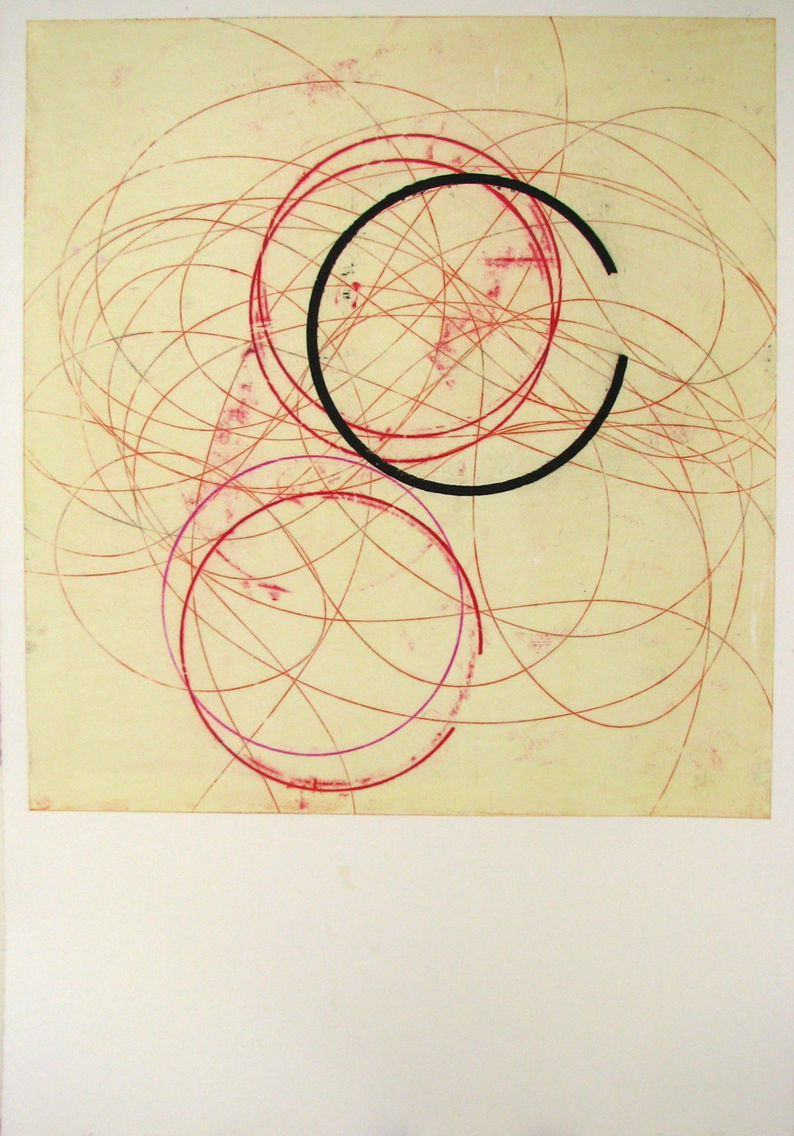 michaelcharles:  glovaskicom:Circled #4, oil transfer drawing, 44x30, Glovaski   2009