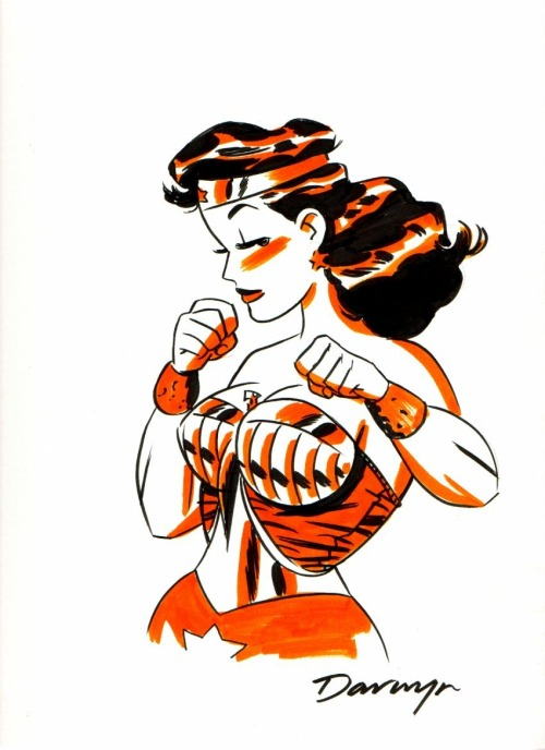 time-traveling-waitress:  [Image: A red tone illustration of DC comics character Wonder Woman shown from the waist up. She has both fists up and is looking at the viewer sideways.] webslinging:  — Darwyn Cooke