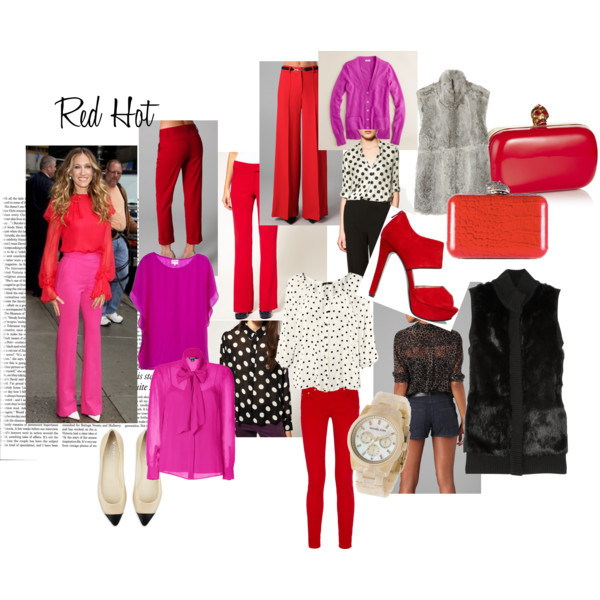 "Red Hot  by Lauren I can't wait to wear red this fall!  This color looks great on so many people and with so many things.  For some people, like my mom and sister, they have used red as a ""neutral"" in their wardrobe for years.  They enjoy adding that pop of color with a red bag, shoe, or leather jacket.   This season, Red, I'm picking up what you're putting down.  I love the pairing with a bright pink that we're seeing from fashion's power houses like DKNY, Prabal Gurung, & Preen's Resort 2012 wear.  Folks, this is a really easy look to copy and since it involves separates, you're investing in the future of each garment. (That sounded convincing didn't it). If color-blocking with red isn't really your thing, red and black is back and hot this fall.  I know many of us have been averse to teaming these colors in the past, but trust me on this one.  To soften it up just a tad, I suggest using red with a pattern – like polka dots, or Equipment's Croc Daddy blouse (pictured). Throw a fur vest over any of these combinations and we're talking mad chic.  DKNY slimming top, $270EQUIPMENT printed top, $228J Crew long sleeve top, $198Silk top, $185Mink Pink chiffon top, $82Zara polka dot top, $60H M polka dot top, £15MICHAEL Michael Kors rabbit vest, $425MICHAEL Michael Kors rabbit vest, $350Milly wide leg pants, $340Alice + Olivia cuffed pants, $242Rag & Bone skinny leg jeans, $175ASOS reversible pants, $82MICHAEL Michael Kors pointed toe shoes, £185BCBGeneration zipper shoes, $98Alexander McQueen clutch hand bag, £845House of Harlow 1960 croco handbag, $195MICHAEL Michael Kors michael kors jewelry, $195"