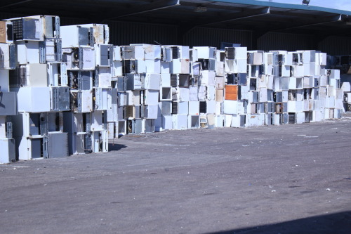 Stack of refrigerators at SIMS Recycling Plant in South Wales. Photo taken on a film shoot recce.