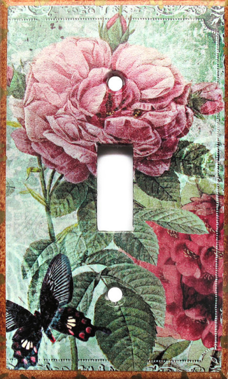 (via pink shabby rose switch plate cover shabby chic by WallCakes)