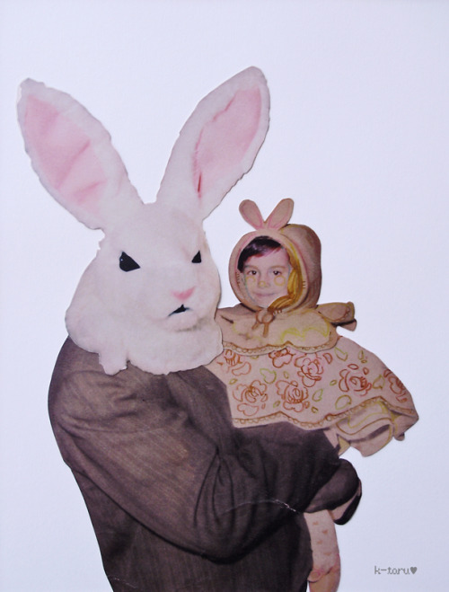 Greetings! Bunny & Me  print, collage, pencils and ink.  —As this was for school, I used a internet pic for the bunny costume  head, but I can't find the original URL, if you know the author please  tell · u·)