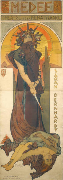 hyperealism:  hyperealism:  Médée by Alphonse Mucha, color litograph, 1898. Click for full view.  I don't like how tumblr sort of pixelated it.