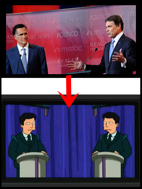 Every time I see Mitt Romney next to Rick Perry.  画