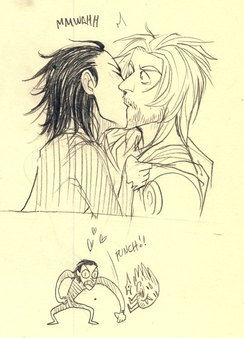 Anonymous asked you: Loki/Thor hate kiss.   haha sorry i draw these pretty fast..