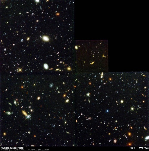 sneakystratus:  The Hubble Deep Field (HDF) is an image of a small region in the constellation Ursa Major, constructed from a series of observations by the Hubble Space Telescope. It covers an area 2.5 arcminutes across, two parts in a million of the whole sky, which is equivalent in angular size to a 65 mm tennis ball at a distance of 100 metres. The image was assembled from 342 separate exposures taken with the Space Telescope's Wide Field and Planetary Camera 2 over ten consecutive days between December 18 and December 28, 1995. The field is so small that only a few foreground stars in the Milky Way lie within it; thus, almost all of the 3,000 objects in the image are galaxies, some of which are among the youngest and most distant known. By revealing such large numbers of very young galaxies, the HDF has become a landmark image in the study of the early universe, with the associated scientific paper having received over 800 citations by the end of 2008. Three years after the HDF observations were taken, a region in the south celestial hemisphere was imaged in a similar way and named the Hubble Deep Field South. The similarities between the two regions strengthened the belief that the universe is uniform over large scales and that the Earth occupies a typical region in the universe (the cosmological principle). A wider but shallower survey was also made as part of the Great Observatories Origins Deep Survey. In 2004 a deeper image, known as the Hubble Ultra Deep Field (HUDF), was constructed from a total of eleven days of observations. The HUDF image is the deepest (most sensitive) astronomical image ever made at visible wavelengths.