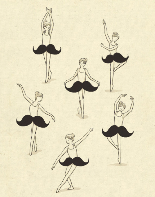 threadless:  The Ballet of Mustache by ilovedoodle Vote now!