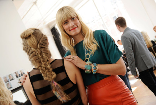 As mentioned on Glamour.com, the hair for Gretchen Jone's SS 2012 show was a show stopper!  Check out the article here. Also take note of the large gold and turquoise bracelet she is wearing… You can find that little number here. RUBY + GEORGE