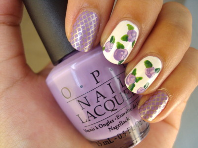 Gold Fences & Lilac Flowers Ring & Middle: Base color is OPI's Alpine SnowFlowers made with OPI's Do You Lilac It?, Lucky Lucky Lavender, Steady As She Rose, & Alpine SnowLeaves made with OPI's Jade Is The New Black, Green-wich VillagePinky & Index: OPI's Do You Lilac It? stamped with Konad plate m57 using China Glaze's Passion