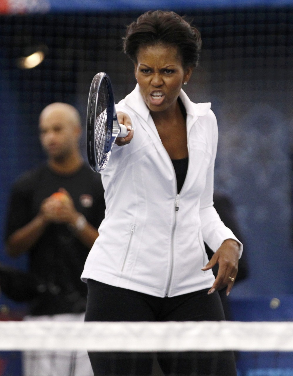 Today in politicians playing tennis: Michelle Obama at the U.S. Open. Mike Segar/Reuters