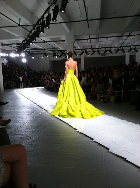 "wmagazine:  ""Fell in love with chartreuse @MissWu_NY"" - @WmagHan Follow W editors' on Twitter and Tumblr for              ongoing  Spring/Summer 2012 coverage."