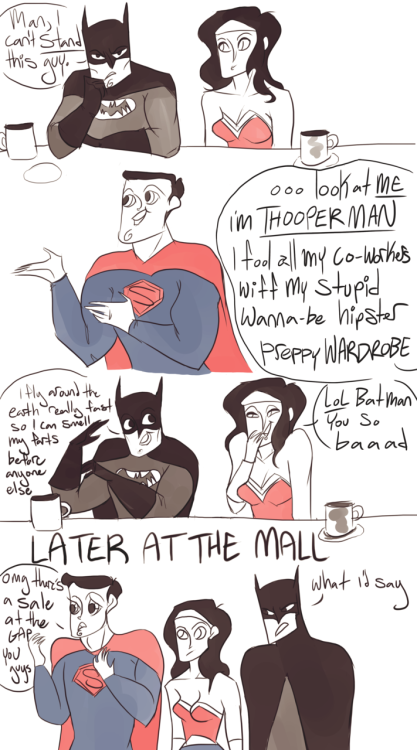 powergirl:  assguard:  whileothersreap:  no really, batman hates superman.   he's a tsuntsun  ahahah faces