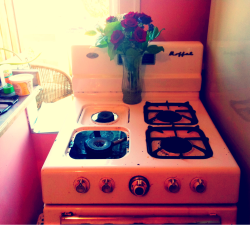 this 50s gas stove in my new place is verrrrrrrrry quickly ruining me for all other ovens.
