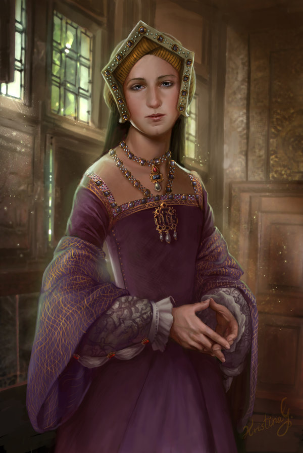 deviantart:  tinywaitress:  Drawings done of the six wives of Henry VIII.  Beautiful paintings by *Maidith!