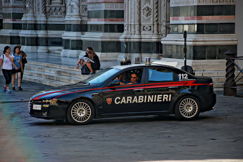 terta:  definemotorsports:  Alfa Romeo 156 Carabinieri car at Firenze, considering the spoiler thingy on the back, I think that's the highway patrol cause that's actually an LED screen, this is how we roll shit in Italy.  note: this is a 159 :-)  That isn't a spoiler, but something in the background.