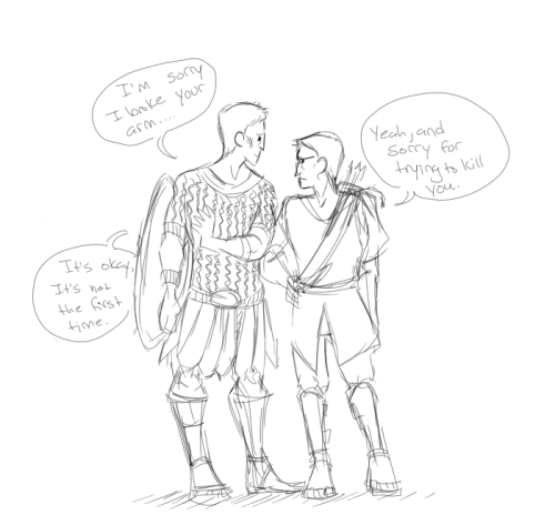 "letsfondue:  I read a fanfiction in which Steve was a ex-gladiator and had to go to court to try and win back his land. He ends up having to fight Clint in the arena and then Steve ends up trying to stop the conspiracy of Clint ""shooting"" the king. Basically, they become Bros. I don't even know anymore…..  I would like a link, Waifu~  PERFECTION"