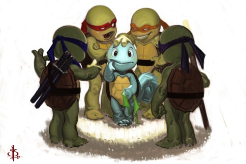 justinrampage:  Squirtle just wanted to fight beside the Teenage Mutant Ninja Turtles, but his cover was quickly blown. Excellent TMNT / Pokemon fan art by Bryan Lee. Related Rampage: Blanka You're not one of us by Bryan Lee (CGHUB) (Facebook) Via: hello-zombie