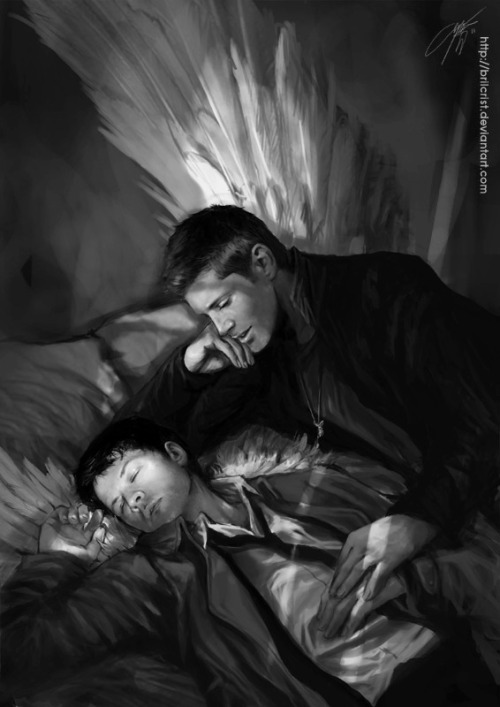 forwardandover:  Angel's don't sleep, Dean - Brilcrist @ Deviant