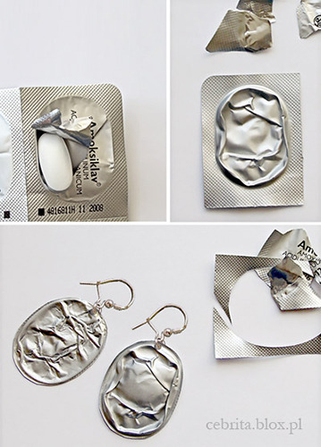 "truebluemeandyou:  ""Antibiotic Design"". DIY Earrings from Pill Package Foil. Found at Craftzine here.  I'd like to see a necklace made with a zillion of these things. The more crinkly - the better. Cost: findings for earrings."