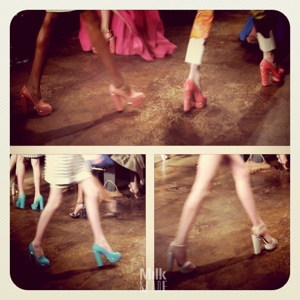 Shoes, shoes, shoes. Mobile photo from the Peter Som show earlier today at Milk. Click through to check out the rest of our live uploads!