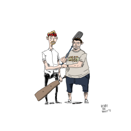 henrytheworst:  Starting a new series of drawings called, Dap Bros.  #1 - Shawn and Ed