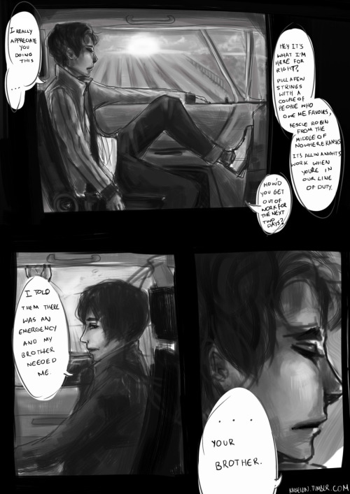 kaiseilin:  One page kinda comic Fanart of this wonderful fic http://wayne-manor.tumblr.com/post/9694908806/fic-commission-crossroad It was so well described and detailed, that I could imagine every little motion of the characters like a movie. I could see the barely there morning light breaking over fields, smell and feel the cool air of the car. I just aghh, there's some wonderful imagery in this fic that I failed to portray with my hasty black and white shading but the urge to draw this scene wouldn't leave me alone.   This is incredibly unexpected.  I'm still in a semi-state of shock when artists are so inclined to illustrate my work entirely unprompted that it leaves me a little speechless.   I'm truly honoured to have so inspired you.  It's wonderful.  You captured so much emotion in their expressions.  It's really how I pictured it when I wrote it. And I love the way you shaded it.  It almost makes it look alive. Excellent work.  Thank you so much.