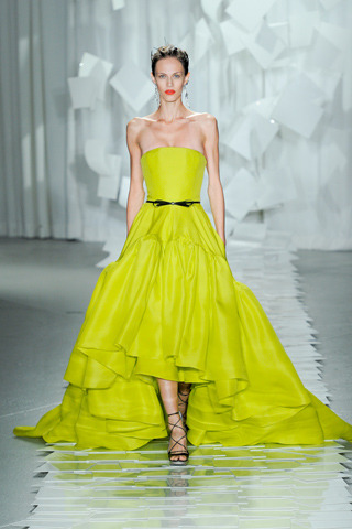 Jason Wu RTW Spring 2012 NYC Fashion Week Model: Aymeline Valade  Photo via Style.com  I love the bright neon color as a full, voluminous skirted gown.