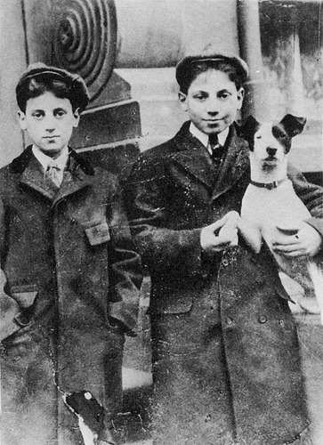 mudwerks:  Groucho and Harpo, 1900 (by John McNab)   In front of their boyhood home at 14 East 93rd Street, New York City. Groucho is nine or ten; Harpo is eleven or twelve.