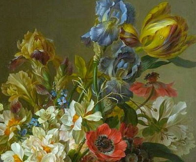 stilllifequickheart:  Willem van Leen Bowl of Flowers, detail Late 18th - early 19th century
