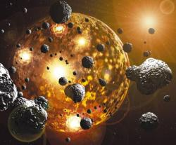 "Asteroids May Have Brought Precious Metals to Earth  By Charles Q. Choi, OurAmazingPlanet Contributor  The precious metals that we see on Earth today may be largely  heavenly in nature, coming from the sky billions of years ago,  scientists now find. Back when the Earth was just forming,  the materials that make up the planet were combining and  differentiating into layers by weight — lighter materials floated to the  surface and now make up Earth's crust, while heavier materials such as  iron sank to the planet's interior. Our understanding of planet formation suggested that precious metals  such as gold and tungsten should have moved into Earth's iron core long  ago, due to the affinity they have for bonding with iron. Surprisingly,  precious metals instead appear relatively abundant on the planet's  surface and in the underlying mantle layer. To help resolve this discrepancy, scientists investigated ancient  rocks from Isua, Greenland, to see how the planet changed over time and  when precious metals entered the picture. Their analysis revealed that  the composition of the Earth changed dramatically about 3.9 billion  years ago. This violent era was known as the Late Heavy Bombardment,  when hordes of asteroids smashed into Earth and the other inner planets —  the aftermath of this onslaught is still evident in the many craters that litter the surface of the moon. Those hordes of asteroids brought with them a bevy of precious metals. ""This is the process by which we have most of the precious elements  accessible on Earth today,"" researcher Matthias Willbold, a geologist at  the University of Bristol in England, told OurAmazingPlanet. Willbold and his colleagues concentrated on investigating the ancient  Greenland rocks for isotopes of tungsten, a metal that, like gold, has  an affinity for bonding with iron. Isotopes of tungsten each have 74  protons in their atoms but different numbers of neutrons — tungsten-182  has 108 neutrons, while tungsten-184 has 110. When the scientists compared modern rocks with Greenland samples that predated the Late Heavy Bombardment,  they discovered the ratio of tungsten-182 to tungsten-184 is 13  parts-per-million lower in modern rocks. Willbold and his colleagues say  this difference suggests that much of the tungsten and precious metals  seen in modern rocks came from meteor strikes. (Primitive meteorites are  known to have significantly depleted levels of tungsten-182 compared to  tungsten-184). The scientists posit that these meteor strikes may also have  triggered the flow of hot rock in the upper layer of the mantle right  below the Earth's crust that is seen up to the present day. ""We want to measure more ancient samples to see how the mantle might have changed over time,"" Willbold said. The researchers detail their findings in the (Sept. 8) issue of the journal Nature."